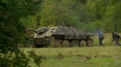 German tank in combat  - stock footage