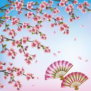 Decorative background with sakura - japanese cherry tree and fans Stock Illustration