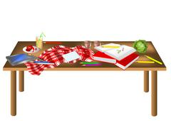 Stock Illustration of messy table