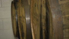 Hard cider barrels and new orchard Stock Footage