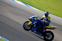 Pilot of motorcycling of formula extreme in the spanish championship of veloc Stock Photos