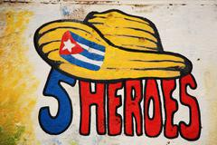 Five heroes cuba Stock Photos