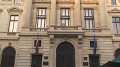 Pan Shot Of The National Bank Of Romania Stock Footage