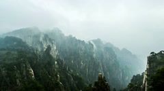 The steep sided valley in Yellow Mountain, Anhui Province, China Stock Footage
