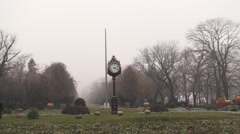Zoom Shot Of The Clock In The Cismigiu Park In Bucharest Stock Footage