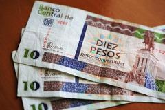 ten convertible cuban peso notes - stock photo