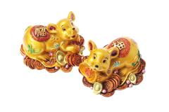 Chinese golden rat ornaments Stock Photos