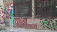 Pan Shot Of The Street Art In Bucharest Stock Footage
