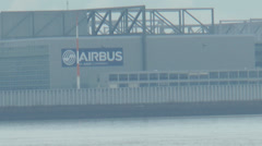 Airbus factory - Beluga - River Elbe Stock Footage