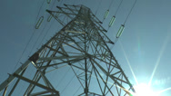 Stock Video Footage of PanPan through the steel girders of an electricity pylon in France.