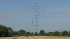 Electricity pylons in France. Stock Footage