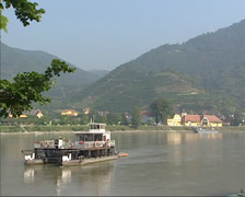 Foot ferry crossing river Danube near Spitz, Wachau Region Stock Footage