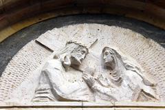 Via dolorosa. armenian catholic church. the fourth  station stop Stock Photos