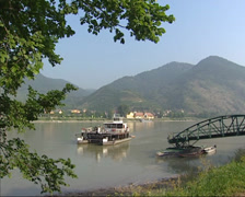 Foot ferry on river Danube near Spitz, approaches jetty Stock Footage