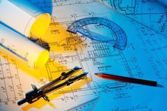 blueprint of a house. construction - stock photo
