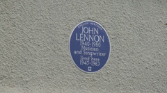 Blue Plaque on John Lennons Former Liverpool Home Stock Footage