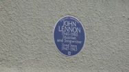 Stock Video Footage of Blue Plaque on John Lennons Former Liverpool Home