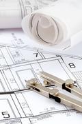 a house plan - stock photo