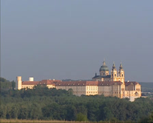 West front of Benedictine Abbey Stift Melk on a hilltop in the Wachau Stock Footage