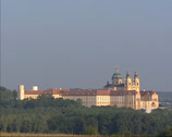 Stock Video Footage of West front of Benedictine Abbey Stift Melk on a hilltop in the Wachau