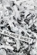 Shredded paper balance sheet Stock Photos