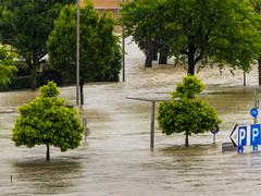 Flood, 2013, linz, austria Stock Photos