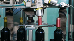 Empty Wine Bottles On the Conveyor Line Stock Footage
