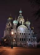 the saviour on the blood at night in saint-petersburg - stock photo