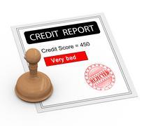 3d bad credit score report - stock illustration