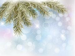 Christmas background with tree branches and snowflakes.  vector Stock Illustration