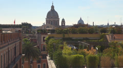 Aerial view panorama Rome Italy rooftop city skyline cityscape building church  - stock footage