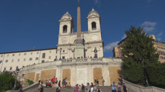 Rome Piazza di Spagna Spanish Steps square Trinita dei Monti church staircase Stock Footage