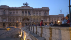 Supreme Court of Cassation facade Ponte Umberto bridge take photo twilight Rome Stock Footage