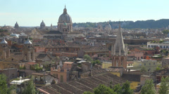 Aerial view rooftop church architecture building skyline cityscape panorama Rome - stock footage
