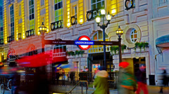 Amazing london picadilly circus underground sign hd hyper time lapse Stock Footage
