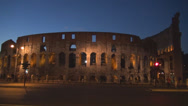 Stock Video Footage of Great Colosseum forum ancient Rome landmark twilight sunset dusk traffic night