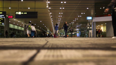 Ground view of staff and passengers at Changi Airport Stock Footage