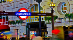 amazing london picadilly circus underground sign hd hyper time lapse closeup - stock footage