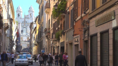 Piazza Spagna Spanish Steps Trinità Rome Monti church street shop people day  Stock Footage