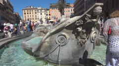 Piazza di Spagna people square Fontana Rome Barcaccia Fountain group Old Boat Stock Footage