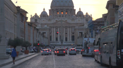Street car traffic San Pietro square basilica dome church place Vatican Rome Stock Footage