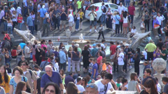 Aerial view Piazza di Spagna Spanish Steps Fountain Rome old boat people day Stock Footage