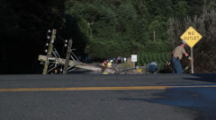 Fallen Power Pole with Workers on Scene Stock Footage