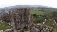 Corfe Castle Aerial shot Stock Footage