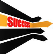Success arrow with word - stock illustration
