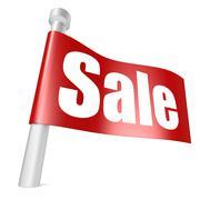 Red flag sale - stock illustration