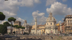 Pan right panorama Forum Trajan square basilica Rome biblioteca fori imperiali - stock footage