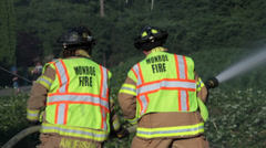 Male & Female Firefighter Team Fights Brush Fire #6 Stock Footage