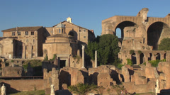Roman Forum Ancient Rome city urban building aerial view sunset day history down Stock Footage
