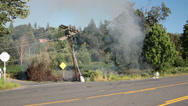 Stock Video Footage of Brush Fire, Power Lines Down, Smoke
